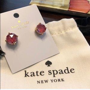 Kate Spade Red Gumdrop Gold Earrings